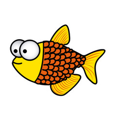 happy fish scalescartoon icon vector image vector image