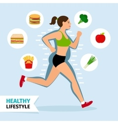 Healthy lifestyle running woman vector image vector image