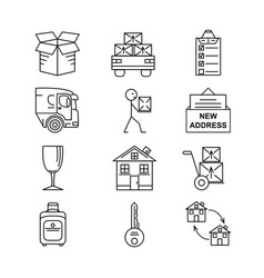 line art icon set for moving thin line art icons vector image