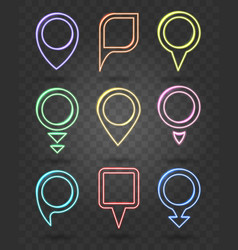 map pin neon signs illuminated frames for vector image vector image
