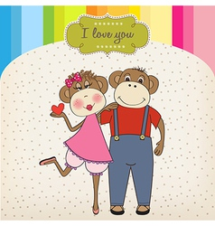 monkeys couple in love vector image