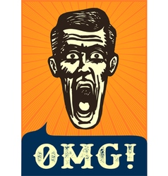 Omg jaw dropping vintage shocked man face vector