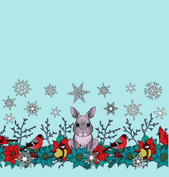 rabbit and birds winter seamless border vector image vector image