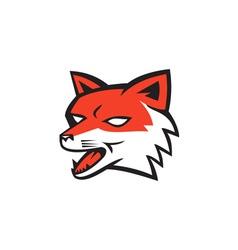 Red Fox Head Growling Retro vector image vector image