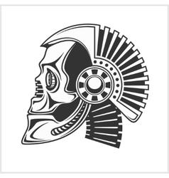 Robotic skull on white background vector