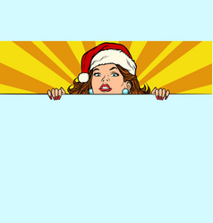 santa girl with copy space poster vector image