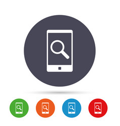 search in smartphone sign icon find symbol vector image vector image
