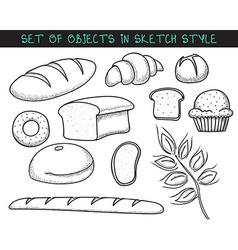 Set of 10 doodle bread baking sketch bread doodle vector