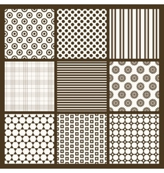 Set of 9 simple seamless monochrome patterns part vector