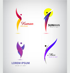 set of creative human man logos leader vector image vector image