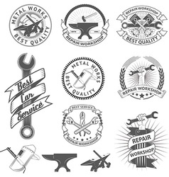 Set of repair workshop labels and emblems vector image vector image