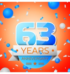 Sixty three years anniversary celebration on vector