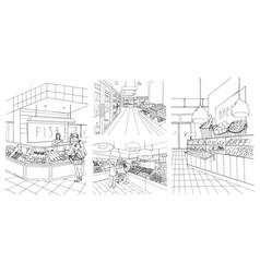 Supermarket interior hand drawn contour vector