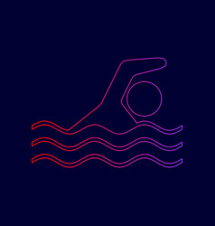 swimming water sport sign line icon with vector image