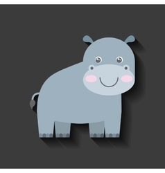 tender cute hippo card icon vector image vector image