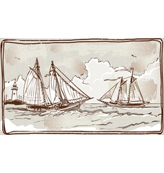 Vintage view of sailing ships on the sea vector