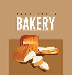 wheat bread bakery background vector image vector image