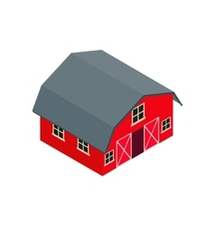 Wooden red barn isometric 3d icon vector