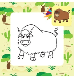 yak coloring page vector image vector image