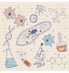 Biology sketches background in vintage style vector