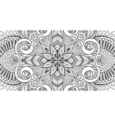 Asian ethnic floral retro doodle black and white vector
