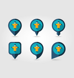 scarecrow flat mapping pin icon with long shadow vector image