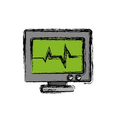 Heart cardio monitor icon vector