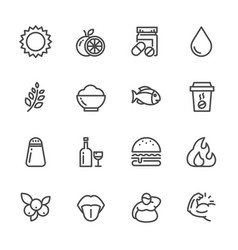 healthy food and nutrition icons set line icons vector image