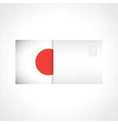 Envelope with japanese flag card vector