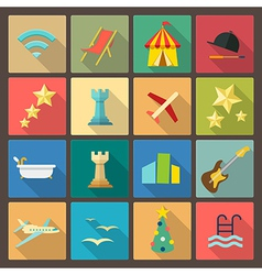 Rest and entertainment icons in flat design style vector