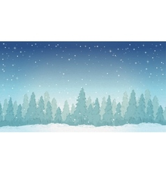 Vintage winter night forest landscape vector