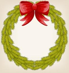 cute Christmas wreath vector image