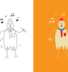 Chicken businessman dancing vector