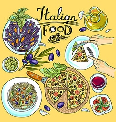 Italian food- set of food color hand-draw vector