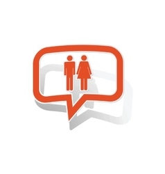 Man woman message sticker orange vector