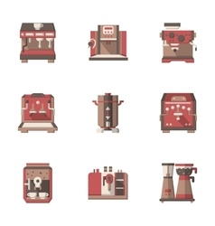 Flat style coffee making equipment icons vector
