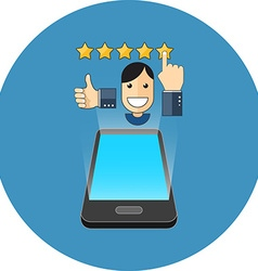 Smartphone positive review concept isometric vector