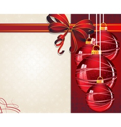 Christmas ornaments with red bow vector