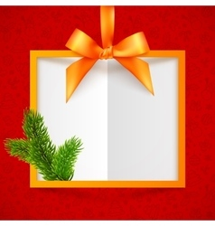 Orange silky ribbon frame with bow at red doodle vector image