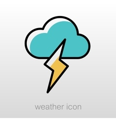 Cloud lightning icon meteorology weather vector