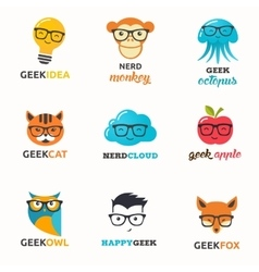 Geek nerd smart hipster icons and symbols vector