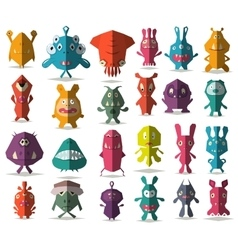 24 cute doodle monsters with folded style vector