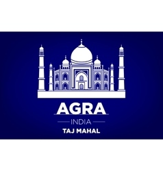 Agra taj mahal india blue background vector
