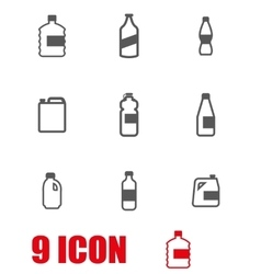 Grey bottles icon set vector