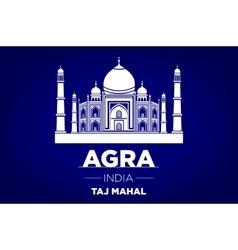 Agra taj mahal india blue background vector