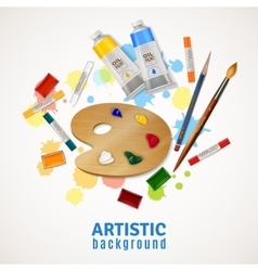 Artistic background with palette and paints vector