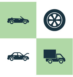 Automobile icons set collection of lorry fixing vector
