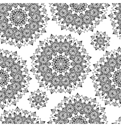 Black and white flower seamless background vector image