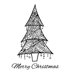 card with doodle black and white christmas tree vector image vector image