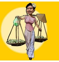 Cartoon cheerful vietnamese woman walks with fruit vector